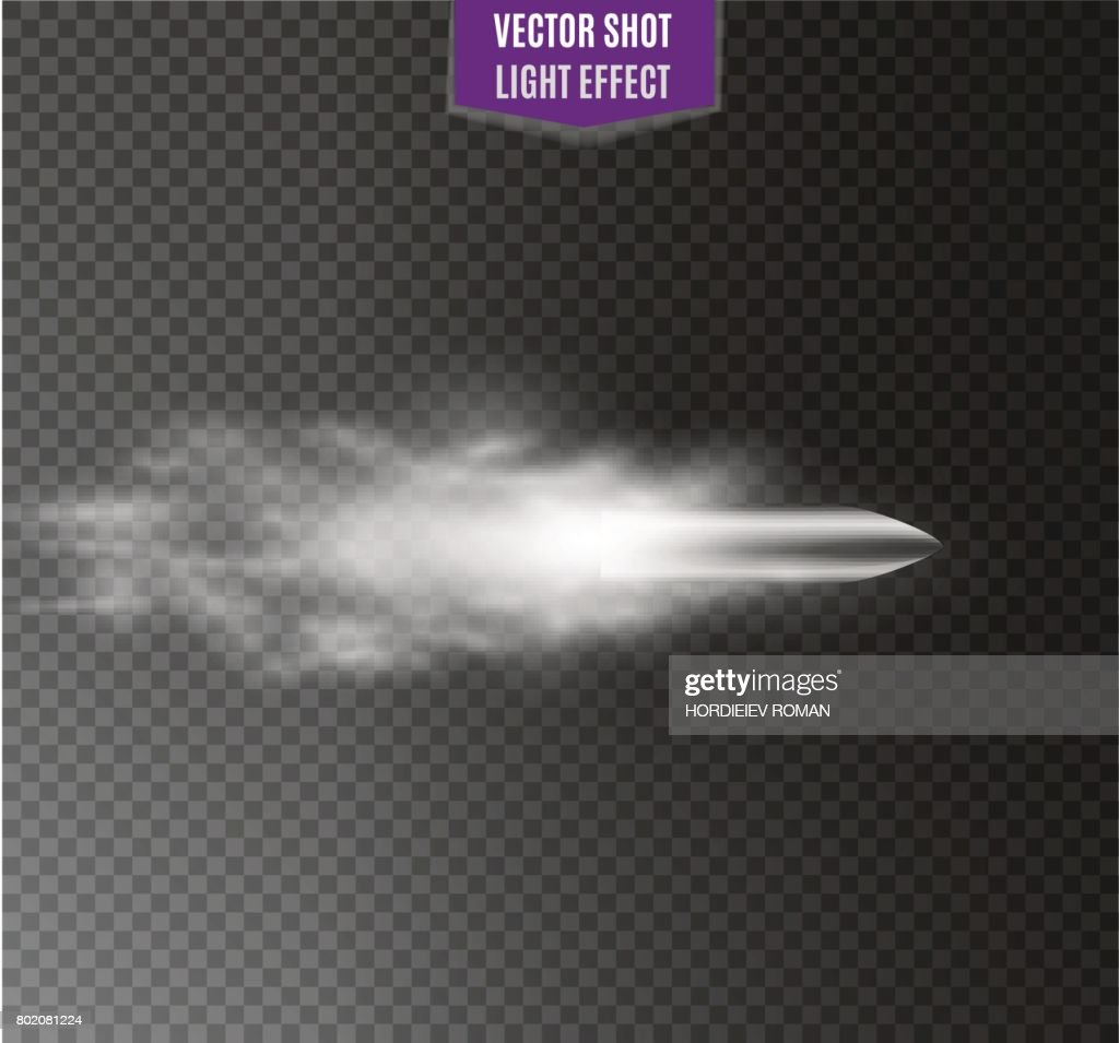 flying bullet.the movement of a bullet on a transparent background
