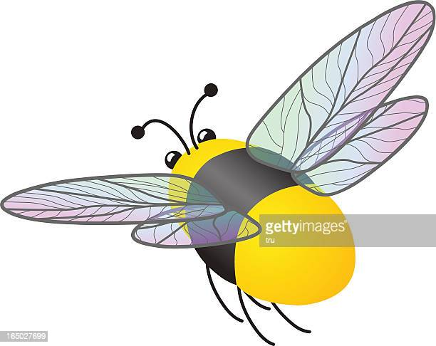 flying bumble bee - bumblebee stock illustrations, clip art, cartoons, & icons