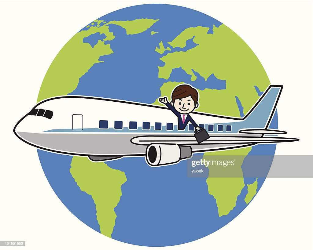 Flying businessman around the world