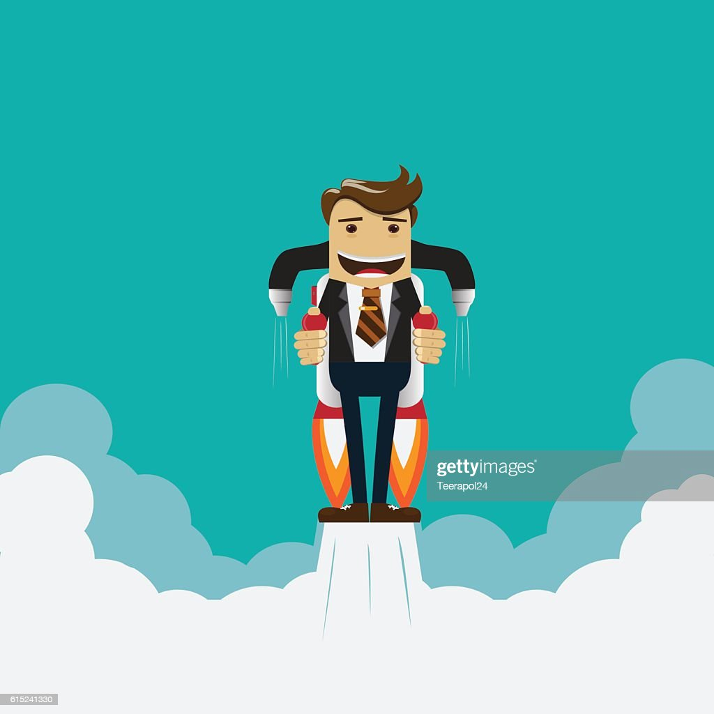 Flying businessman with jet pack,vector illustration