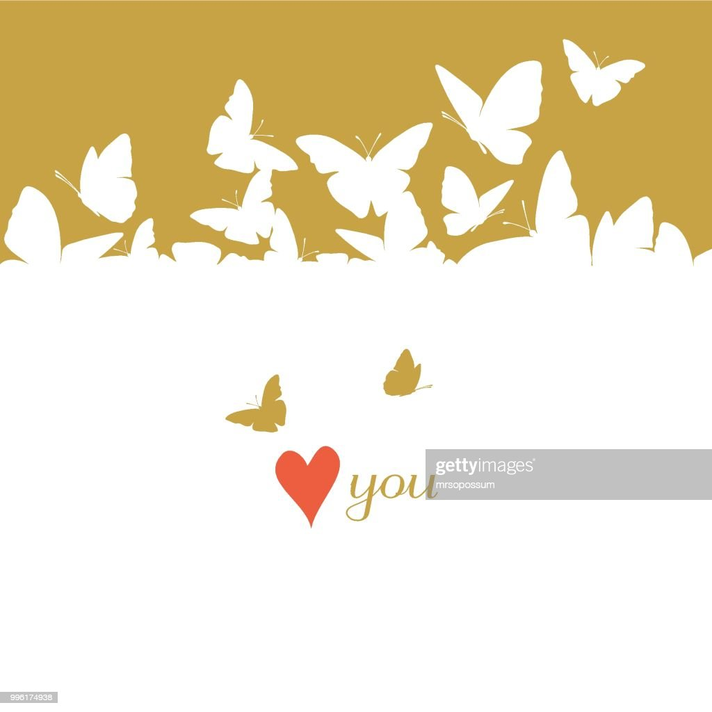 Flying butterflies card. St. Valentine's Day