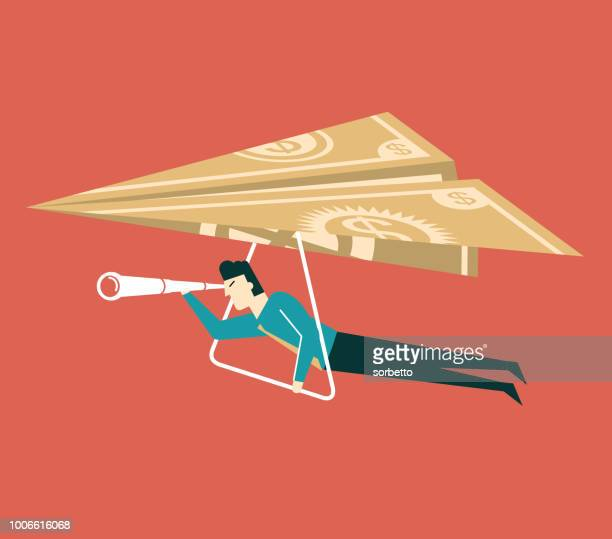 flying cash - businessman - cash flow stock illustrations, clip art, cartoons, & icons