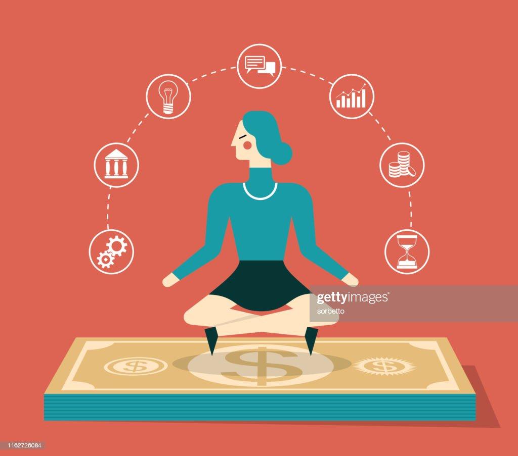Flying cash - Businesswoman : Stock Illustration