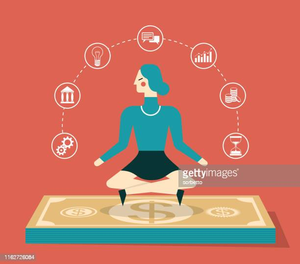 flying cash - businesswoman - mindfulness stock illustrations, clip art, cartoons, & icons