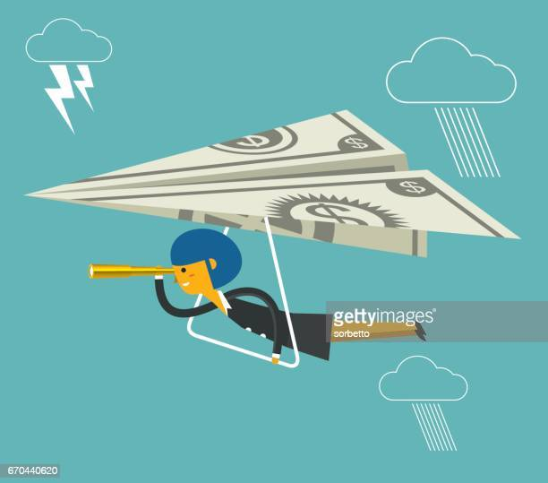 flying cash with businesswoman - cash flow stock illustrations, clip art, cartoons, & icons