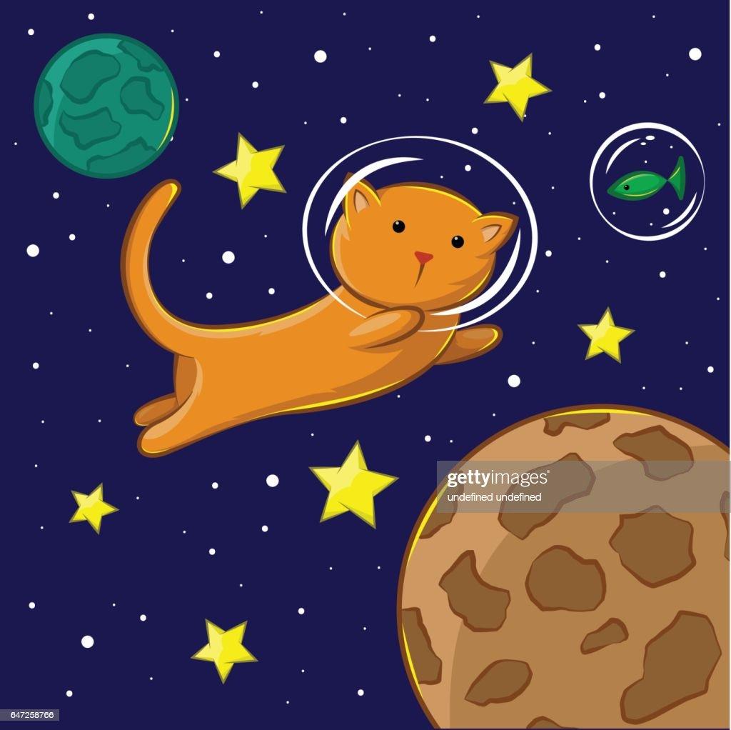 Flying cat in th space : Vektorgrafik