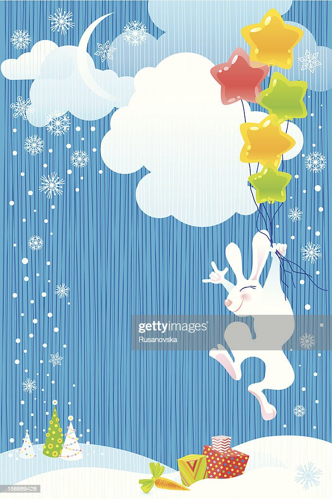 Flying Christmas Bunny : Vector Art