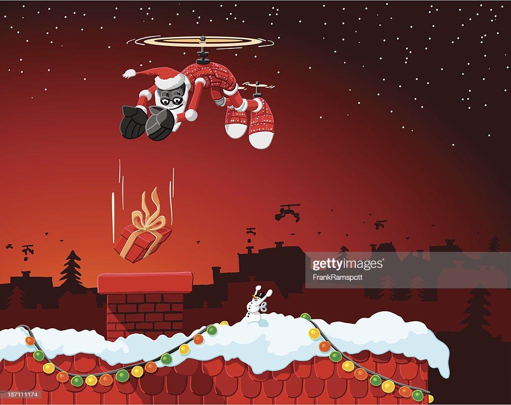 Flying Christmas Robot : Stock Illustration