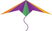 Flying colorful kite vector illustration.