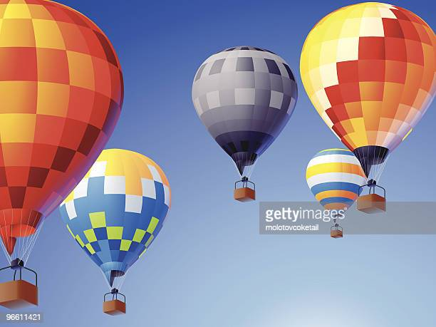 flying colors - hot air balloon stock illustrations, clip art, cartoons, & icons