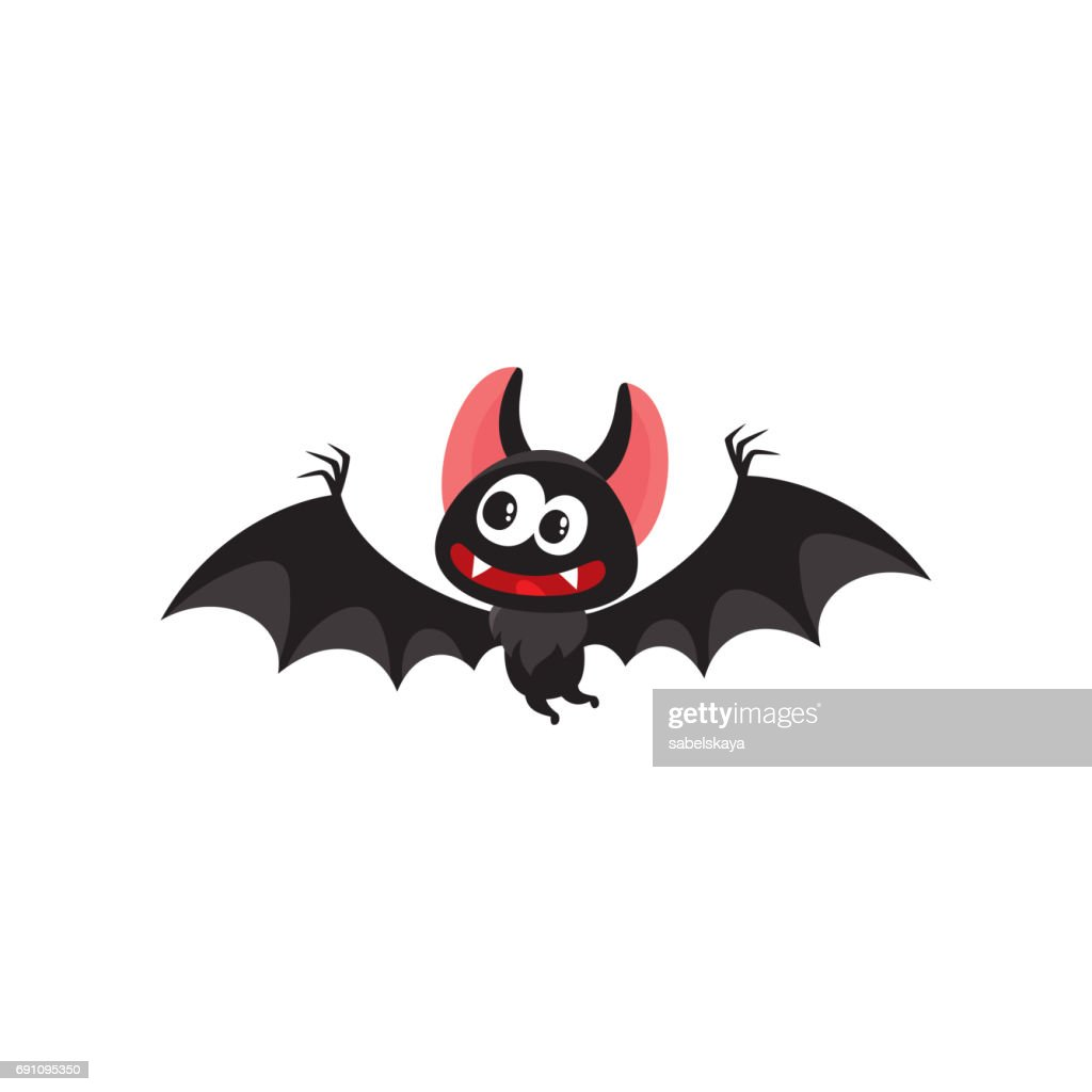 Flying crazy vampire bat, traditional Halloween symbol, cartoon vector illustration