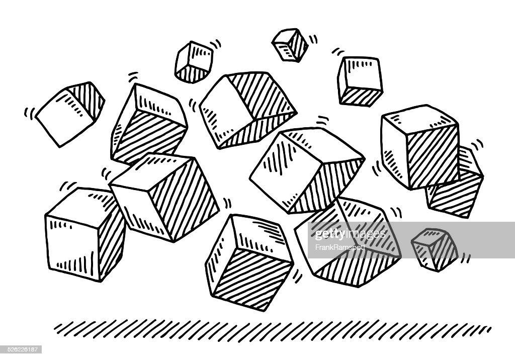 Fliegende Würfel-Zeichnung : Stock-Illustration
