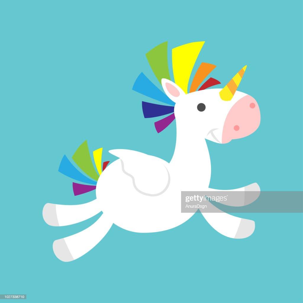 Flying cute Unicorn with bushy hair