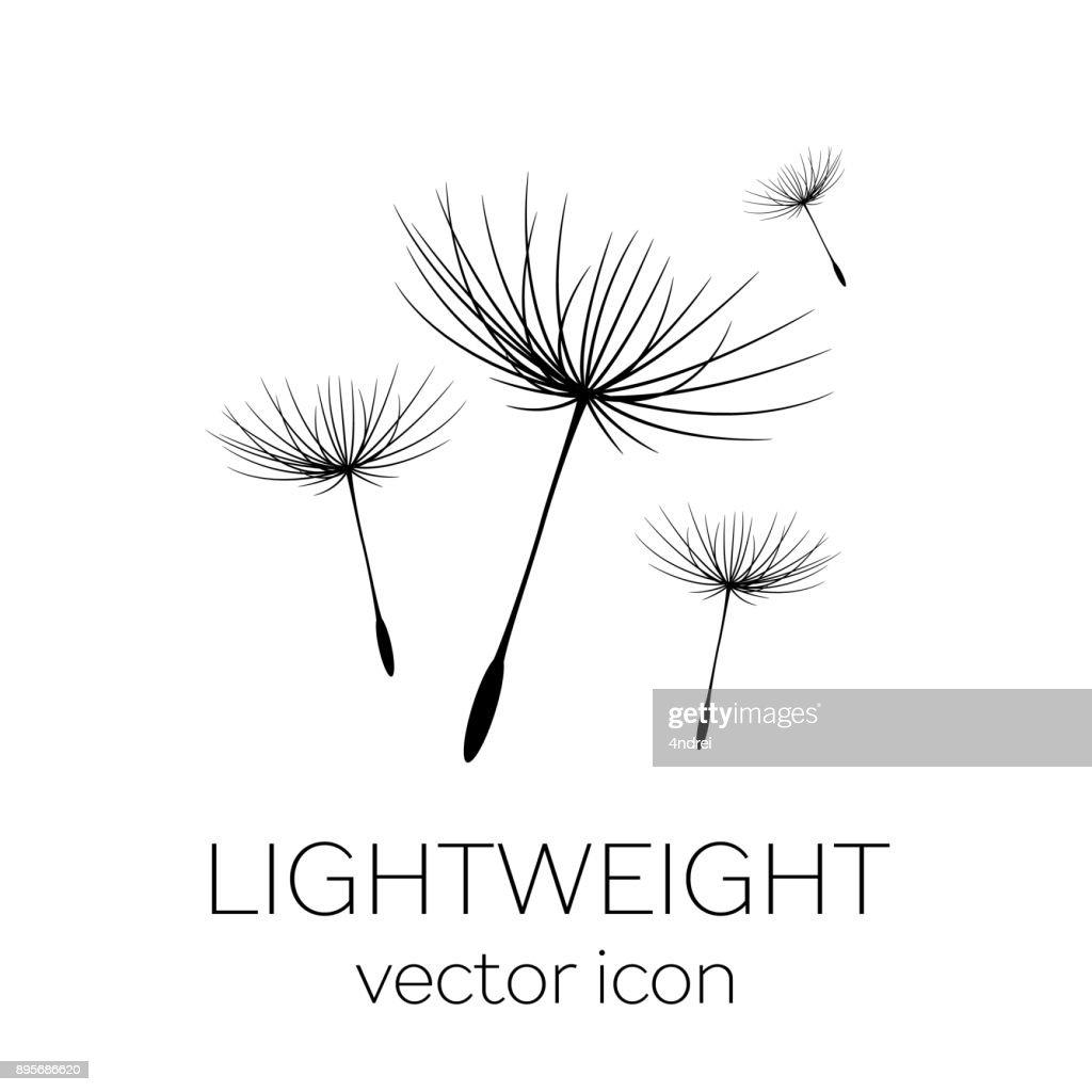 Flying dandelion seeds, vector icon
