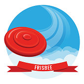 Flying disk red frisbee on blue sky vector illustration