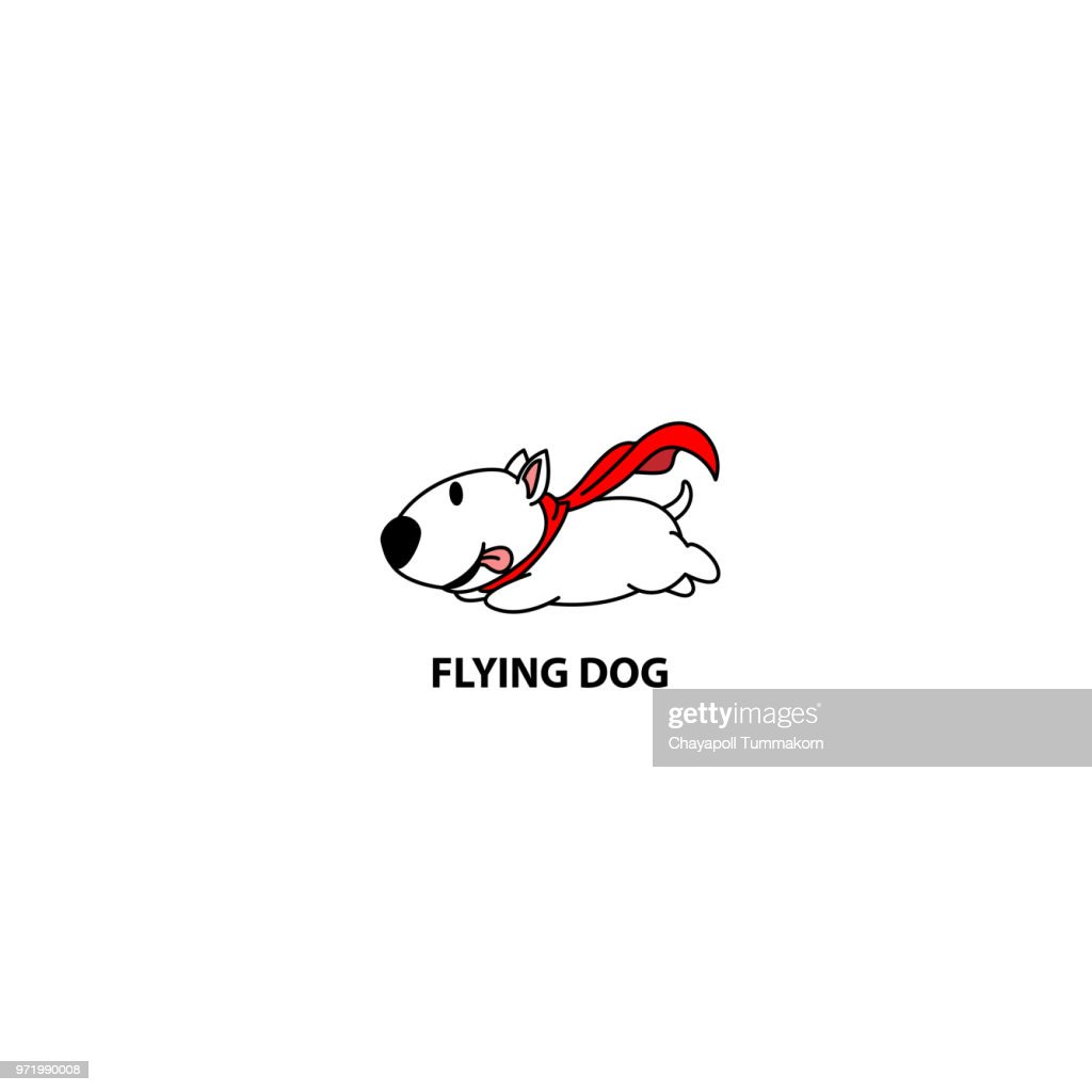 Flying dog, funny bull terrier with red cape icon, logo design, vector illustration