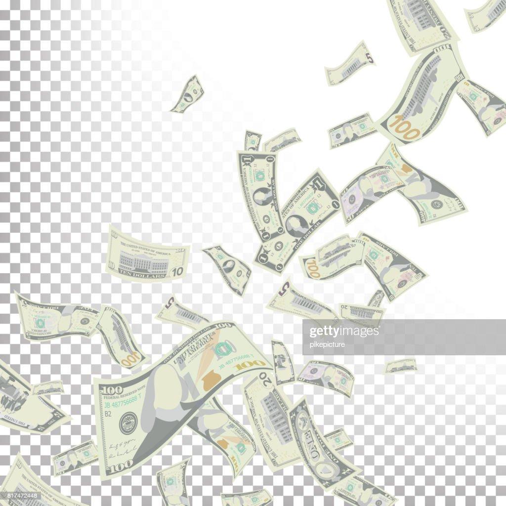 Flying Dollar Banknotes Vector. Cartoon Money