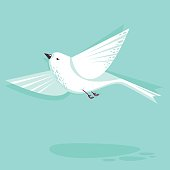 Flying dove bird vector flat style illustration. Minimalistic design