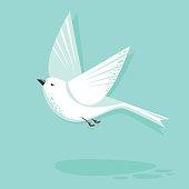 Flying dove bird vector flat style illustration. Minimalistic design