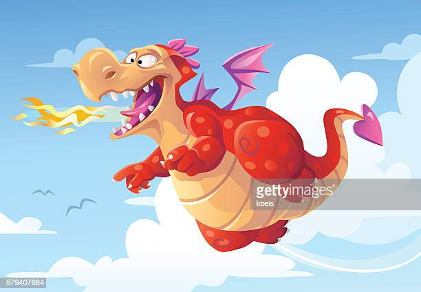 flying dragon breathing fire - dragon stock illustrations