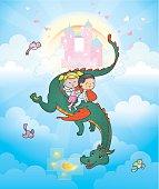 Flying Dragon kids castle fantasy