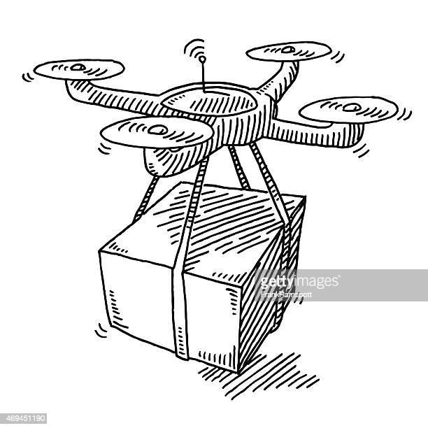 ilustraciones, imágenes clip art, dibujos animados e iconos de stock de flying soniquete envío de paquetes de dibujo - drone