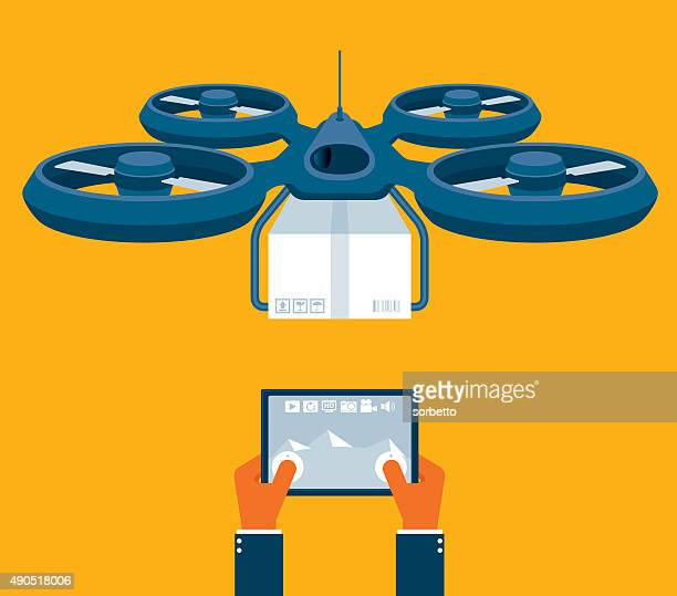 flying drone parcel delivery - drone stock illustrations, clip art, cartoons, & icons