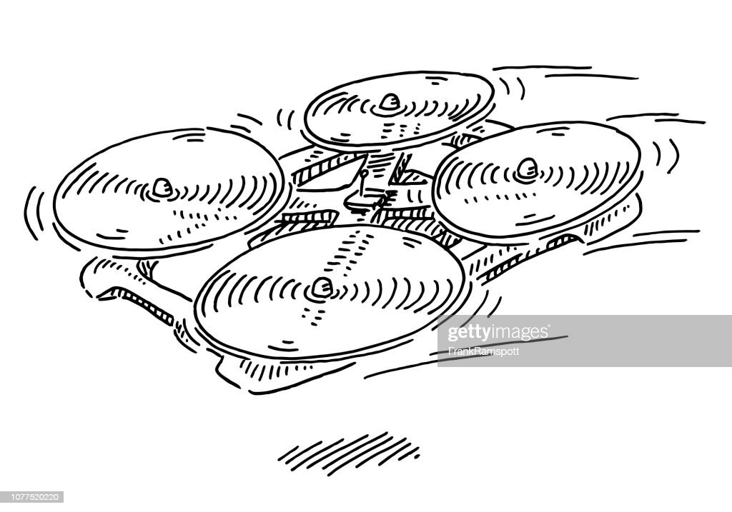 Drone Quadcopter Zeichnung fliegen : Vektorgrafik
