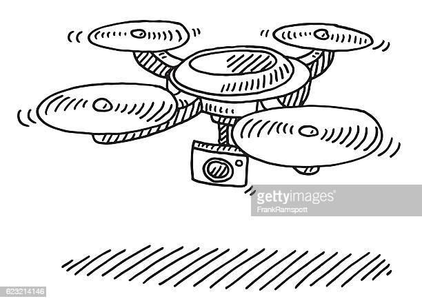 ilustraciones, imágenes clip art, dibujos animados e iconos de stock de flying drone with camera drawing - drone