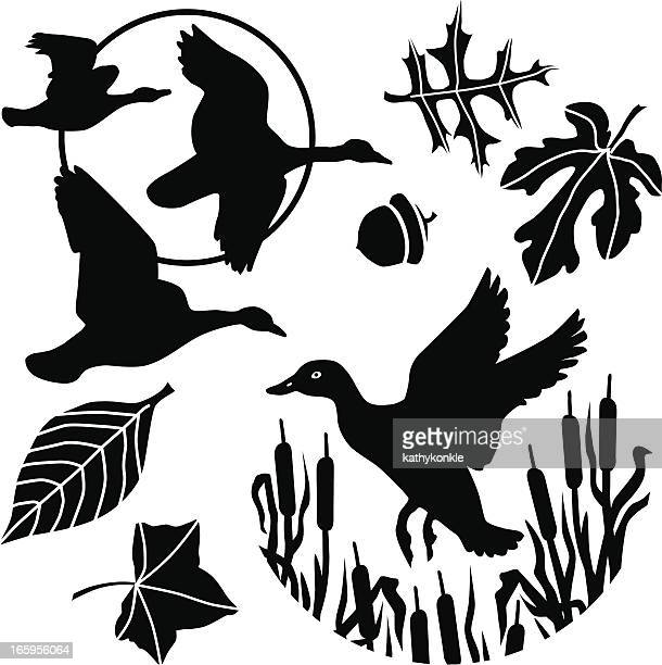 flying duck and geese - duck stock illustrations, clip art, cartoons, & icons