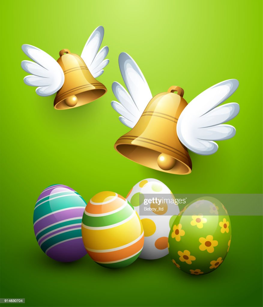 Flying Easter bells and eggs