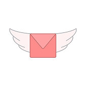 flying envelope with wings. vector design illustration