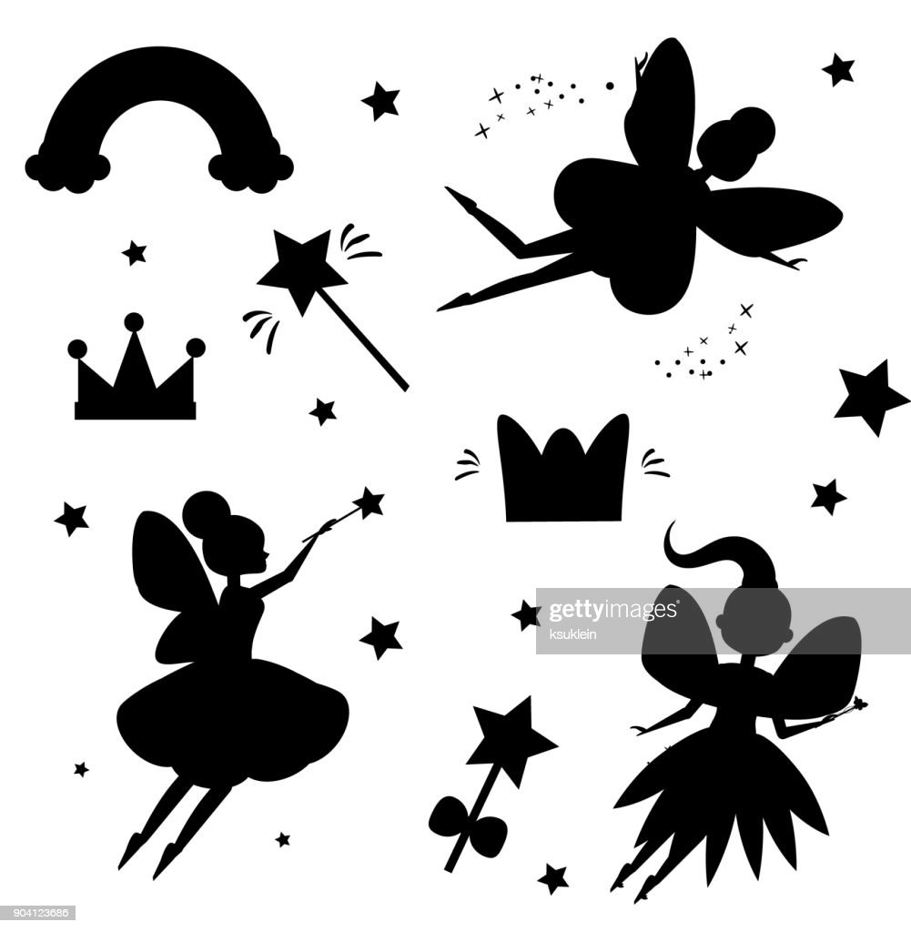 Flying fairies silhouettes isolated on white background. Magical features of fairy world. Isolated elements for stickers, scrapbook