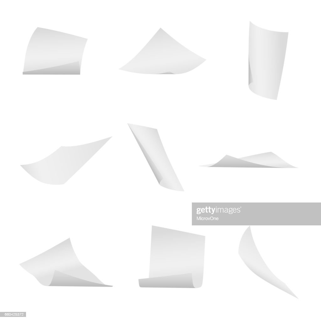 Flying, falling office white paper sheets vector set