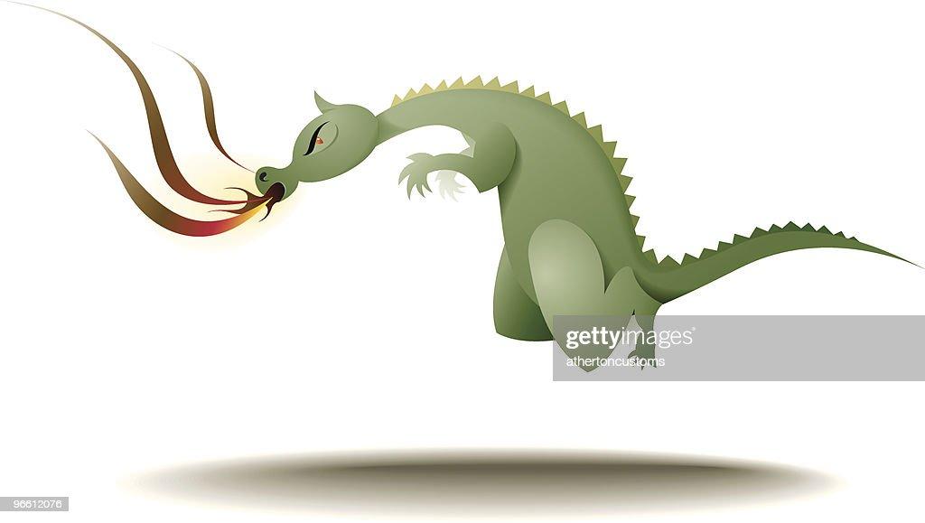 Flying, fire-breathing dragon