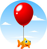 Flying fish tied to a big cute red balloon