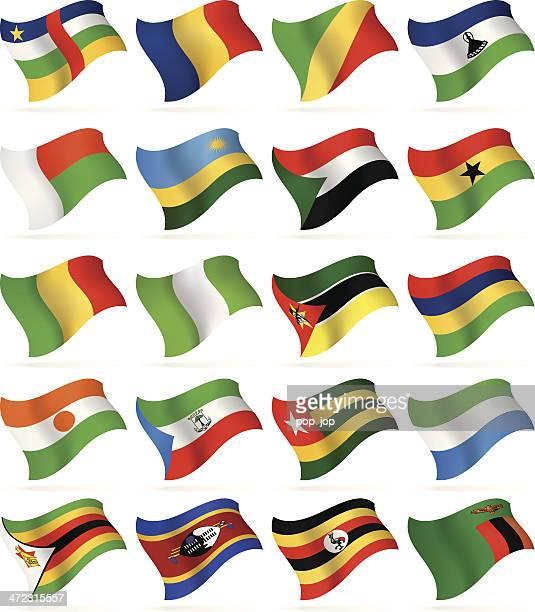 ilustrações, clipart, desenhos animados e ícones de voando bandeira collection-áfrica - zimbabwe