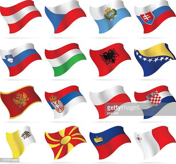 flying flags-mittel- und südeuropa - polnische flagge stock-grafiken, -clipart, -cartoons und -symbole