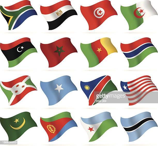 ilustrações, clipart, desenhos animados e ícones de voando flags collection-áfrica - libéria