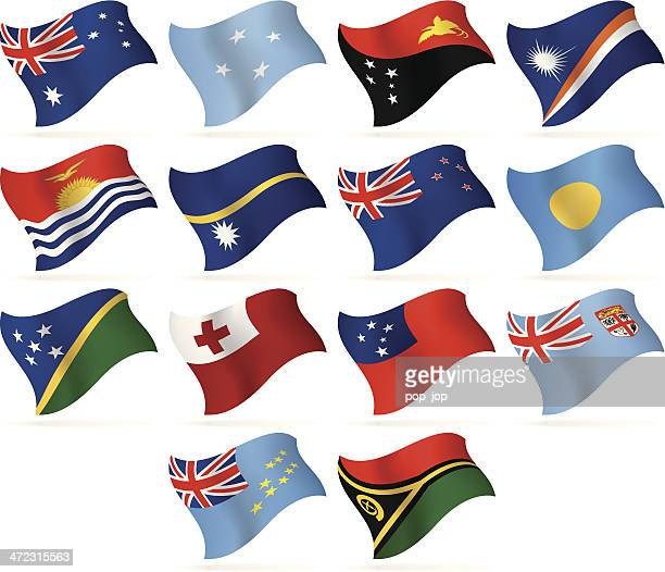 flying flags collection - australia and oceania - vanuatu stock illustrations