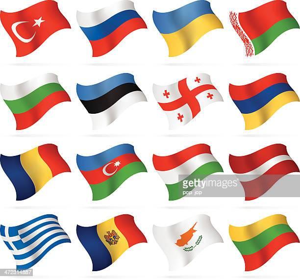 flying flags-east und südeuropa - flagge von georgien stock-grafiken, -clipart, -cartoons und -symbole