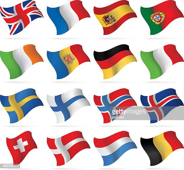 flying flags - western and nothern europe - all european flags stock illustrations