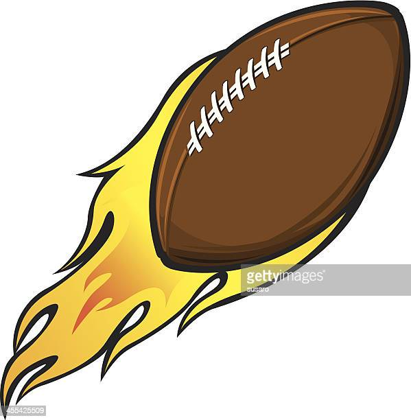 flying football flame - rush american football stock illustrations