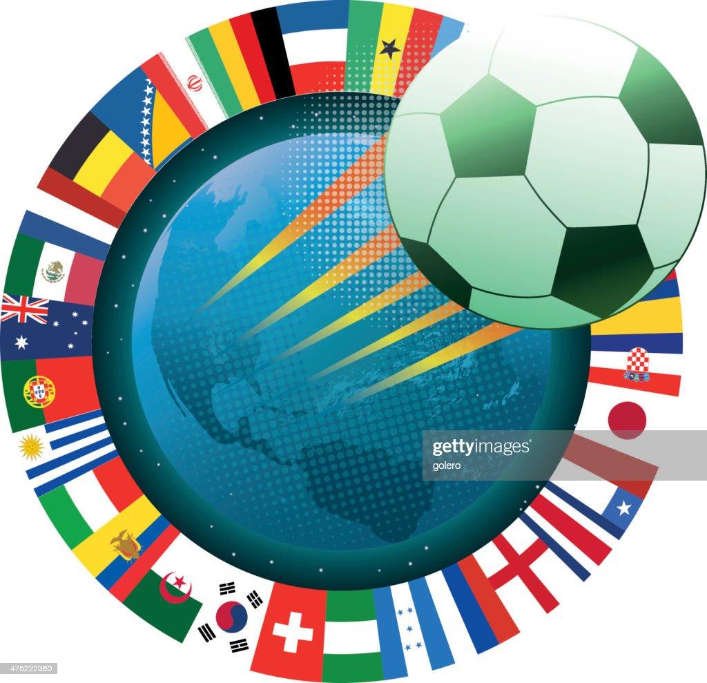 Simbolo Calcio Vola Con Pianeta Terra E Bandiere Internazionali Arte