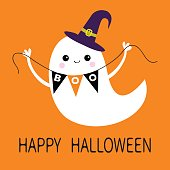 Flying ghost spirit holding bunting flag Boo. Witch hat. Happy Halloween. Scary white ghosts. Cute cartoon spooky character. Smiling face, hands. Orange background. Greeting card. Flat design.