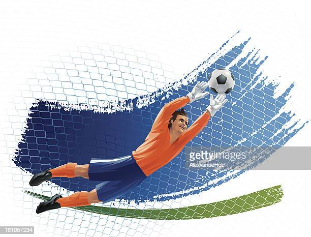 flying goalkeeper stretching to the ball - goalkeeper stock illustrations