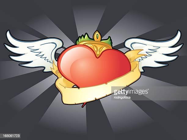 stockillustraties, clipart, cartoons en iconen met flying heart - sjerp
