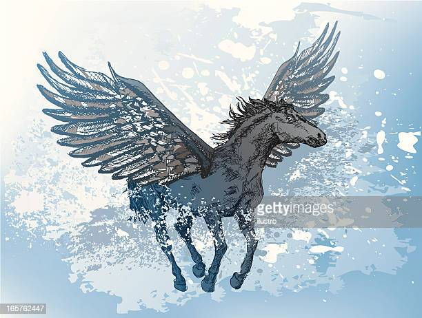 flying horse - pegasus stock illustrations, clip art, cartoons, & icons
