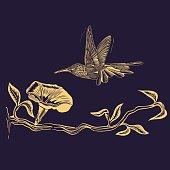Flying Hummingbird vector drawing