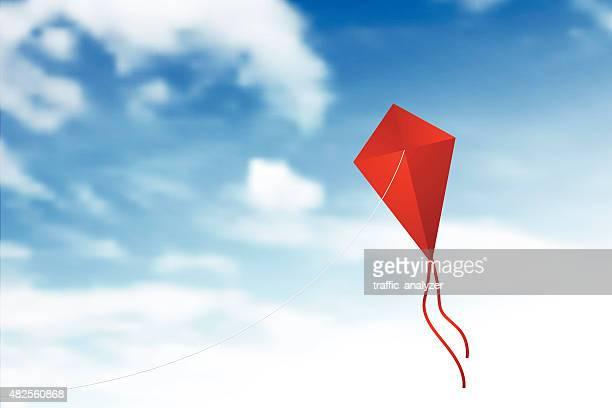flying kite - kite toy stock illustrations, clip art, cartoons, & icons